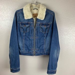Hollister Denim Jacket With Sherpa Lining Sz Large